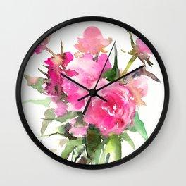 soft pink peonies Wall Clock