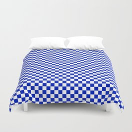 Small Cobalt Blue and White Checkerboard Pattern Duvet Cover