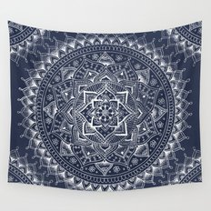 White Flower Mandala on Dark Blue Wall Tapestry
