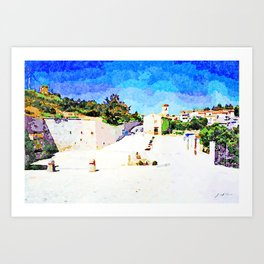 Borrello: square and view of the church with village Art Print