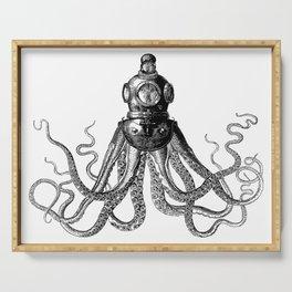 Octopus in Diving Helmet | Deep Sea Divers Helmet | Vintage Octopus | Tentacles | Black and White | Serving Tray