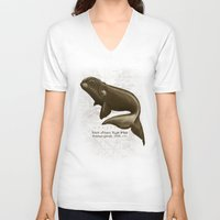 biology V-neck T-shirts featuring North Atlantic Right Whale by Amber Marine