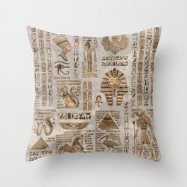 Egyptian hieroglyphs and deities -Vintage Gold Throw Pillow