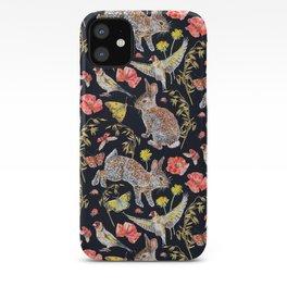 Bunny Meadow Pattern - Dark iPhone Case