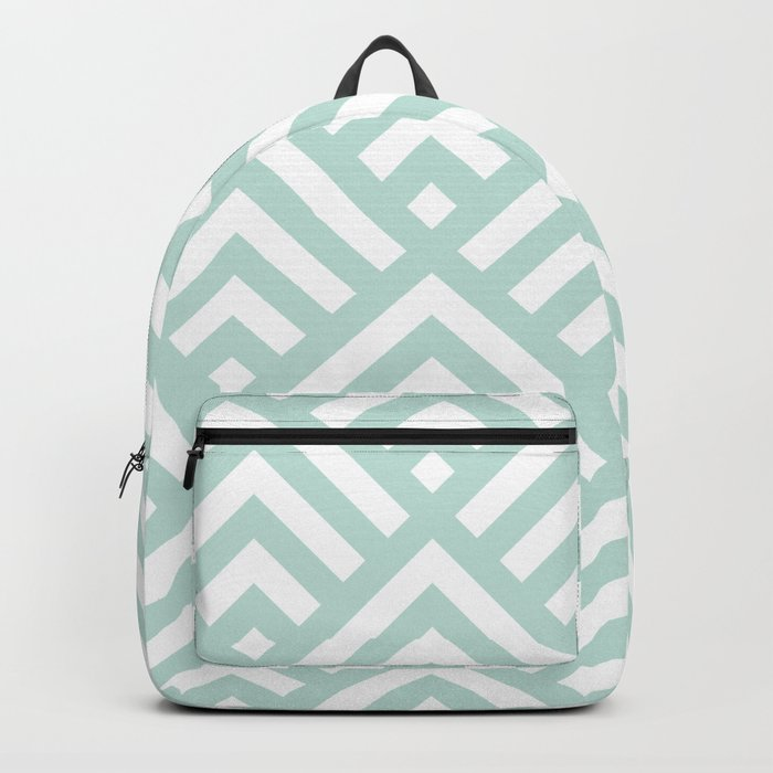 Turquoise Blue geometric art deco diamond pattern Backpack