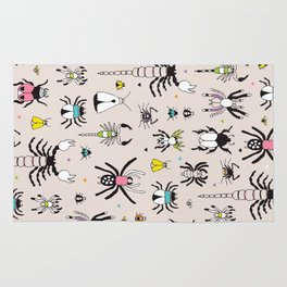 Creepy scorpion spiders and insect illustration quirky bugs creature pattern Rug
