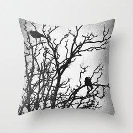 Rustic Crows Black Birds Tree Modern Cottage Chic Art A465B Throw Pillow