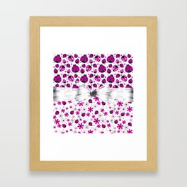 Fancy Pink Ladybugs And Flowers Framed Art Print
