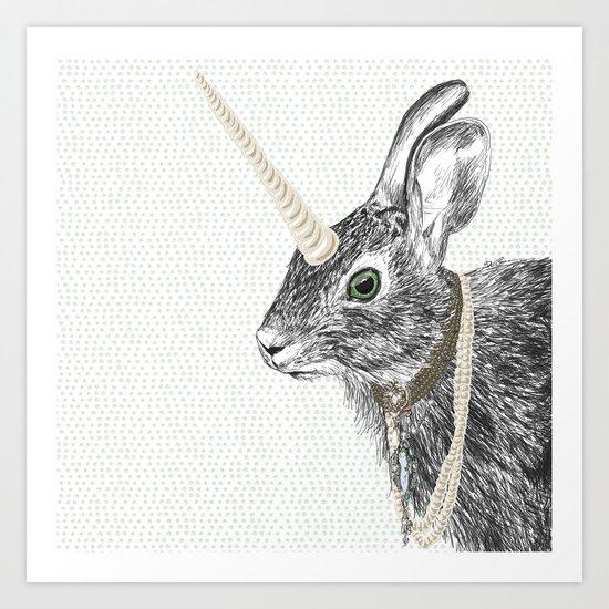 uni-hare All animals are magical Art Print