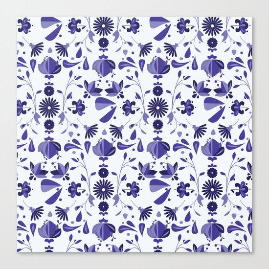 Blue Flower Bohoo Pattern Canvas Print