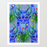 kittens Art Prints featuring Kittens by Sartoris ART