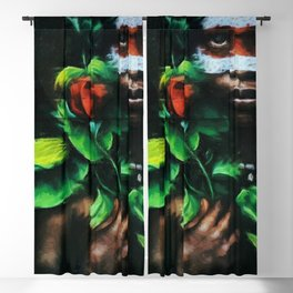 African American Masterpiece Portrait of a West African Young Woman floral painting Blackout Curtain