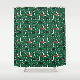 Christmas Border Collie - green Shower Curtain