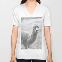 llama V-neck T-shirts featuring Llama by Cat In The Sorting Hat