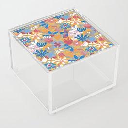 Blue Bell – Scandinavian folk art - all over floral Acrylic Box