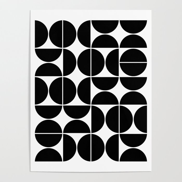 Mid Century Modern Geometric 04 Black