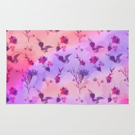 Modern hand painted abstract pink violet watercolor floral Rug