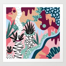 Pattern with plants Art Print