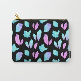 Pastel Watercolor Crystals // Black Carry-All Pouch