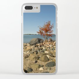 Orange tree at the shore Clear iPhone Case