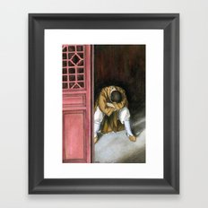 praying chinese monk Framed Art Print
