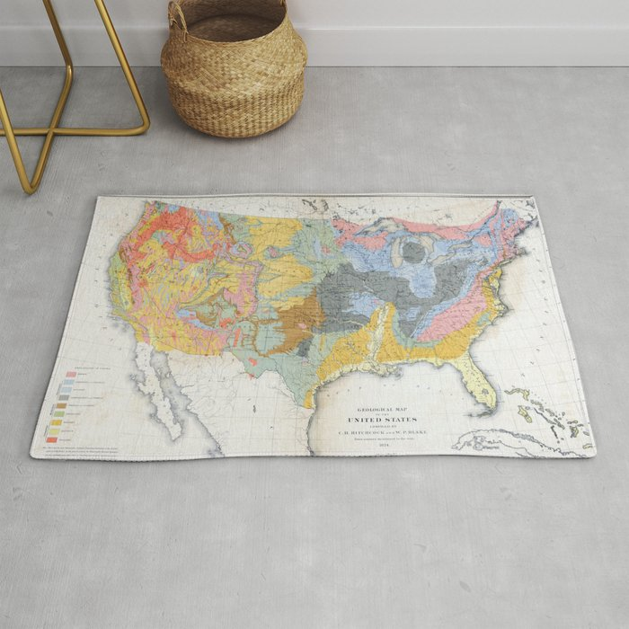 1874 Geological Map of the United States Rug by constantchaos