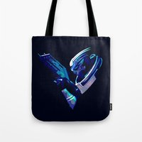 garrus Tote Bags featuring Mass Effect: Garrus Vakarian by Fiona Ng