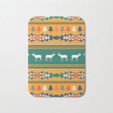 Ethnic Christmas pattern with deer Bath Mat