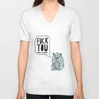 hamster V-neck T-shirts featuring Foul Hamster by jess moorhouse