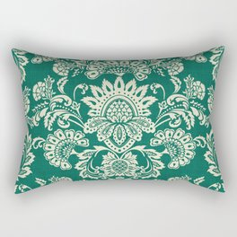 Damask vintage in green Rectangular Pillow