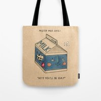 milk Tote Bags featuring Milk by Felicia Chiao
