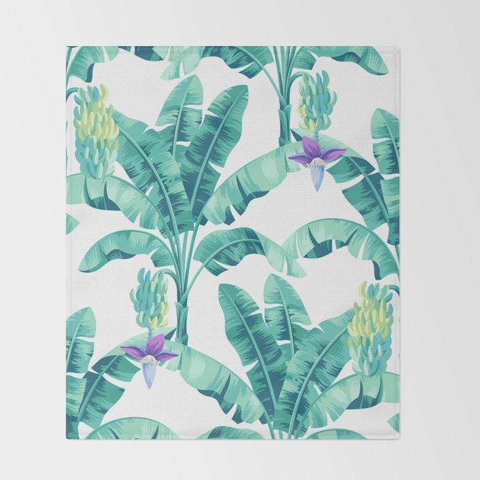 Banana leaf bloom Throw Blanket