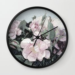 Shabby-chic Romantic Rosebush Painting Wall Clock
