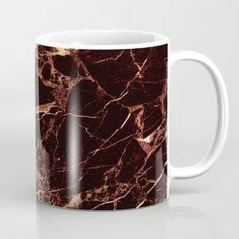 Marble, Masala Red + Faux Gold Veins Coffee Mug