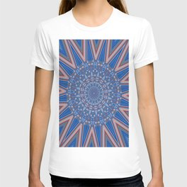 Blue Red and White Kaleidoscope Pattern T-shirt