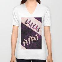 run V-neck T-shirts featuring run by KrisLeov