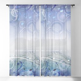 Abstract sheet music design background with musical notes Sheer Curtain