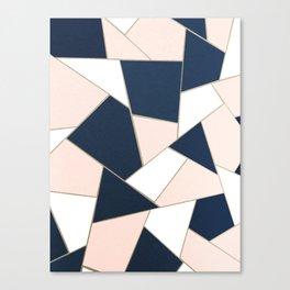 Navy Blue Blush White Gold Geometric Glam #1 #geo #decor #art #society6 Canvas Print