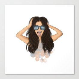 Girl With Glasses Friyay Canvas Print