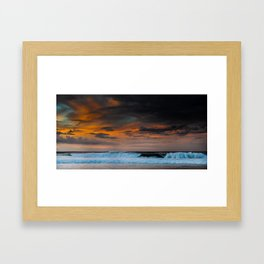 Sunset over Pipeline, Hawaii Framed Art Print