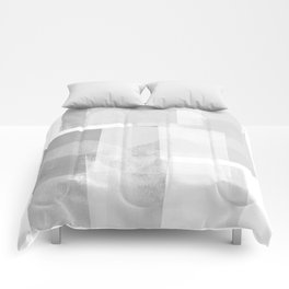 "Grey and White Minimalist Geometric Abstract ""Building Blocks"" Comforters"