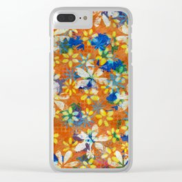 Autumn Petals on Burnt Umber Clear iPhone Case