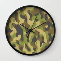 military Wall Clocks featuring Military Pattern by Crazy Thoom