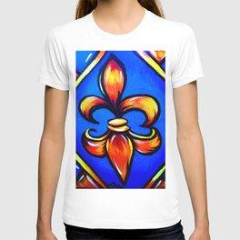 Orange Fleur d Lis against blue background T-shirt