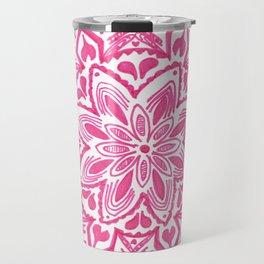 pink floral mandala Travel Mug