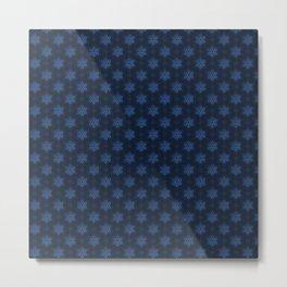 Festive Blue Snowflake Pattern Metal Print
