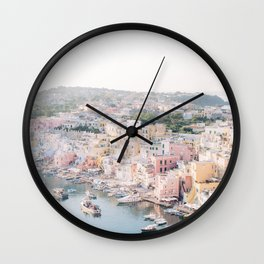 Procida Italy Gorgeous Pastel Architecture Wall Clock