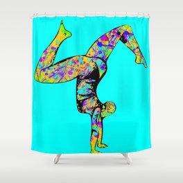 Baha Hand Stand Blue Shower Curtain