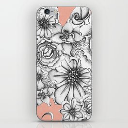 B&W Flowers Coral iPhone Skin