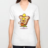 bread V-neck T-shirts featuring Corny Bread by Artistic Dyslexia